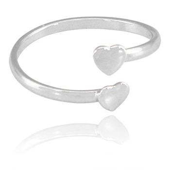 Anel mini coração ajustável folheado a prata