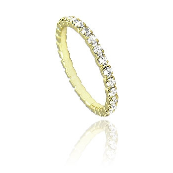 Aliança inteira em strass na cor cristal folheada a ouro