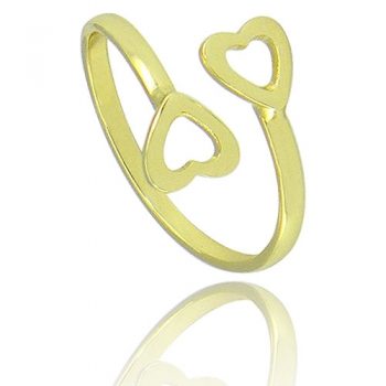 Anel de falange (ou infantil) ajustável folheado a ouro c/ dois corações