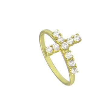 Anel folheado a ouro com cruz de zircônia
