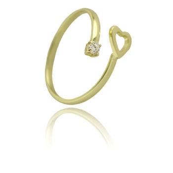 Anel ajustável folheado a ouro com coração e zircônia