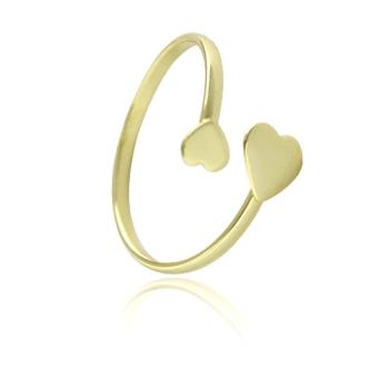 Anel ajustável folheado a ouro com dois corações
