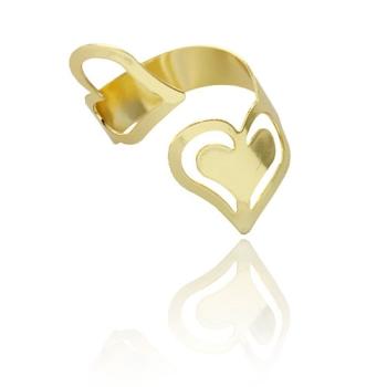 Anel ajustável folheado a ouro com corações