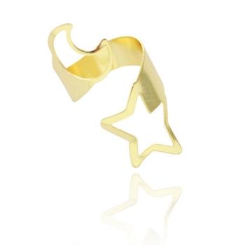 Anel ajustável folheado a ouro com Lua e Estrela