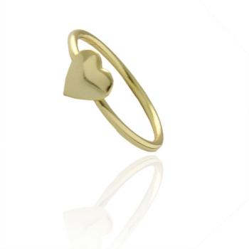 Anel de falange (ou infantil) folheado a ouro com adereço em forma de coração