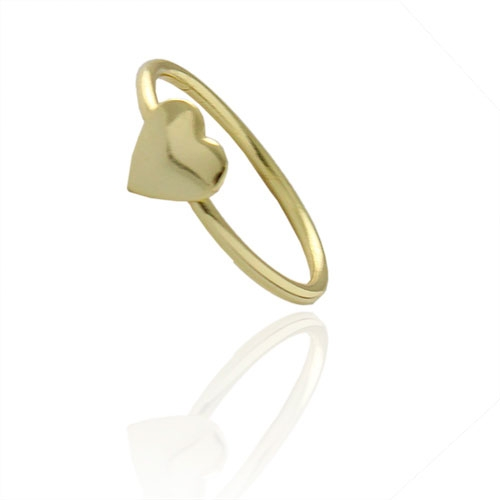 Foto 1 do Produto Anel de falange (ou infantil) folheado a ouro com adereço em forma de coração