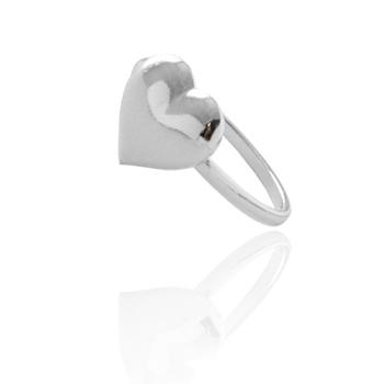 Anel folheado a prata com adereço em forma de coração abaulado M