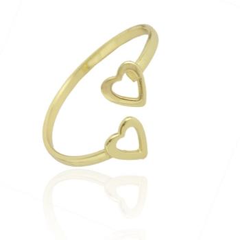 Anel regulável folheado a ouro com adereços em forma de coração