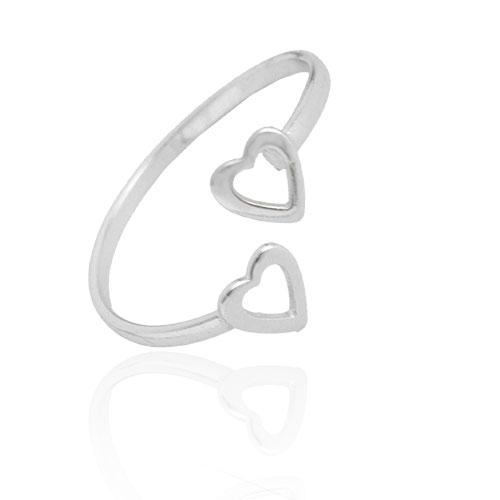 Foto 1 do Produto Anel regulável folheado a prata com adereços em forma de coração