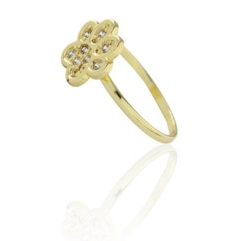 Anel folheado a ouro com adereço em forma de uma pata com micro zircônias