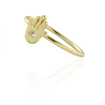 Anel folheado a ouro com adereço em forma de uma mão com zircônia