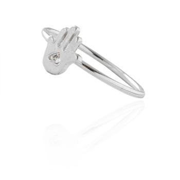 Anel folheado a prata com adereço em forma de uma mão com zircônia
