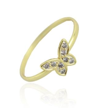 Anel folheado a ouro com adereço em forma de borboleta com micro zircônias