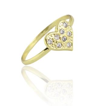 Anel folheado a ouro com adereço em forma de coração com micro zircônias