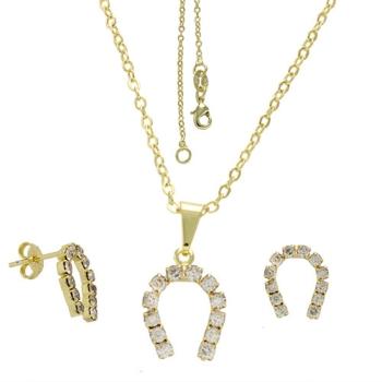 Conjunto folheado a ouro com brincos e pingente de strass em forma de ferradura