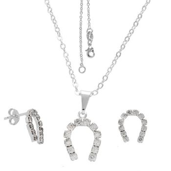 Conjunto folheado a prata com brincos e pingente de strass em forma de ferradura