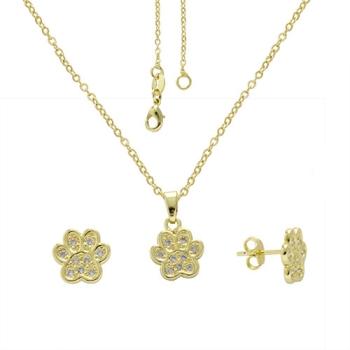 Conjunto folheado a ouro com brincos e pingente em forma de patinha com micro zircônias