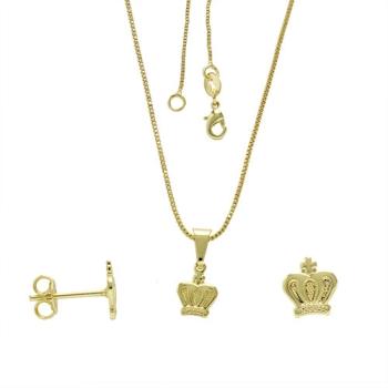Conjunto folheado a ouro com brincos e pingente em forma de corôa