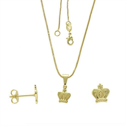 Foto 1 do Produto Conjunto folheado a ouro com brincos e pingente em forma de corôa