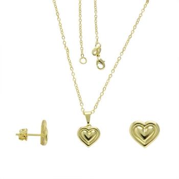 Conjunto folheado a ouro com brincos e pingente em forma de coração com detalhes em alto relevo