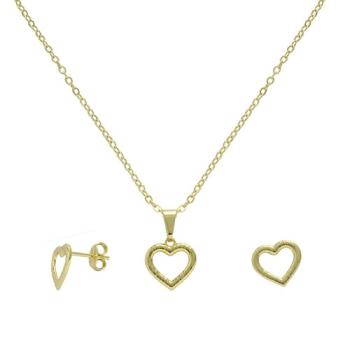 Conjunto folheado a ouro com brincos e pingente em forma de coração vazado