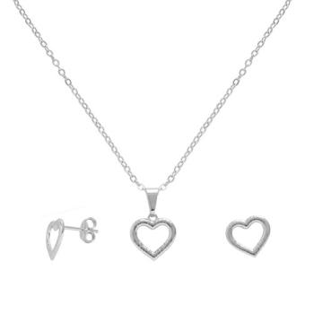 Conjunto folheado a prata com brincos e pingente em forma de coração vazado