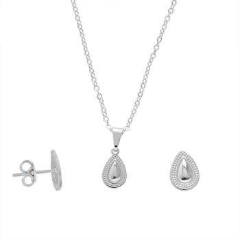 Conjunto folheado a prata com brincos e pingente em forma de gota