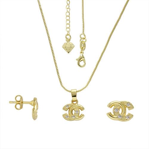 Foto 1 do Produto Conjunto folheado a ouro com brincos e pingentes Chanel Inspired