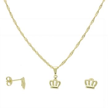 Conjunto folheado a ouro com brincos e pingente em forma de coroa