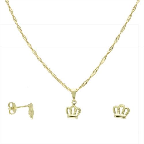 Foto 1 do Produto Conjunto folheado a ouro com brincos e pingente em forma de coroa