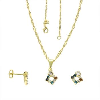 Conjunto folheado a ouro com brincos e pingente em forma de losango com strass multicolorido
