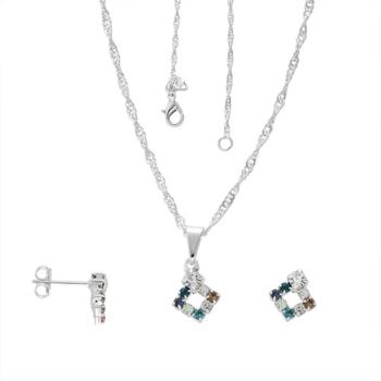 Conjunto folheado a prata com brincos e pingente em forma de losango com strass multicolorido