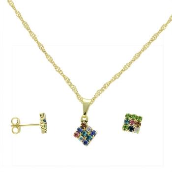 Conjunto folheado a ouro com brincos e pingente em forma de losango multicolorido com strass