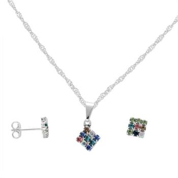 Conjunto folheado a prata com brincos e pingente em forma de losango multicolorido com strass