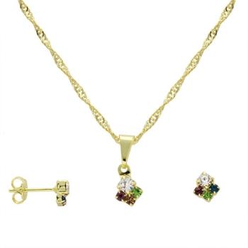Conjunto folheado a ouro com brincos e pingente formando um losango pequeno com strass multicolorido