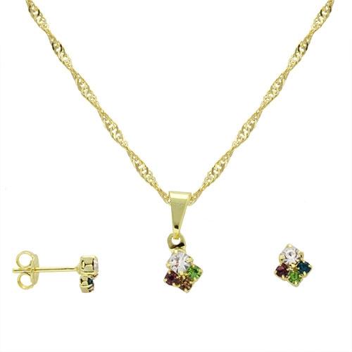 Foto 1 do Produto Conjunto folheado a ouro com brincos e pingente formando um losango pequeno com strass multicolorido