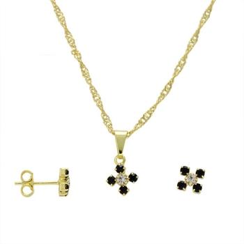 Conjunto folheado a ouro com brincos e pingente em forma de flor com strass