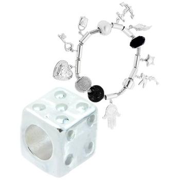 Berloque separador folheado a prata em forma de dado