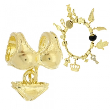 Berloque folheado a ouro em forma de biquíni (Pandora inspired)