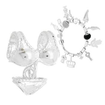 Berloque folheado a prata em forma de biquíni (Pandora inspired)