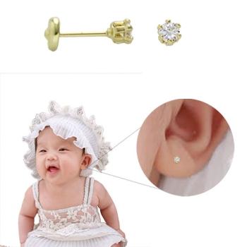 Brinco infantil (ou 2º furo) folheado a ouro com zircônia de 3 mm e tarraxa Baby