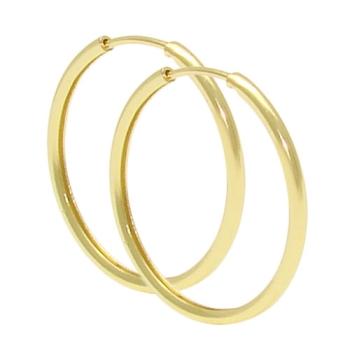Brinco de argola tubular fino folheado a ouro (tamanho M)