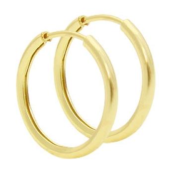 Brinco de argola tubular fino folheado a ouro (tamanho P)