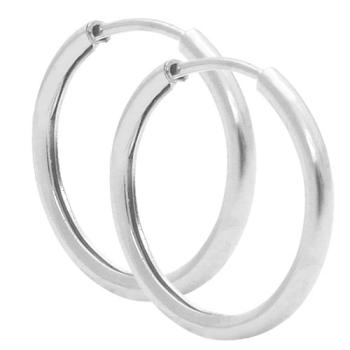 Brinco de argola tubular fino folheado a prata (tamanho P)