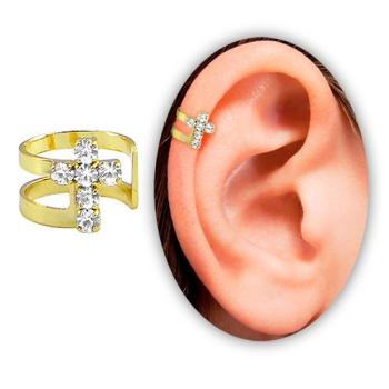Piercing de orelha (fake) folheado a ouro c/ cruz de strass