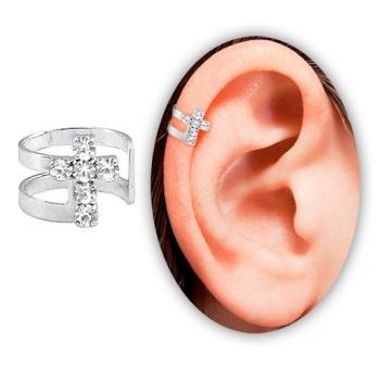 Piercing de orelha (fake) folheado a prata c/ cruz de strass