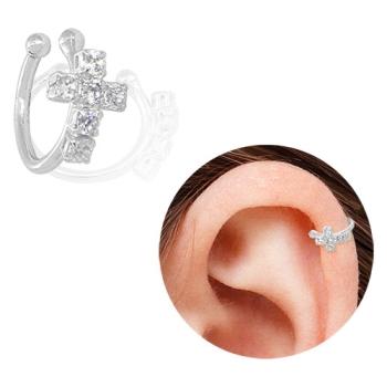 Piercing Fake de orelha folheado a prata com cruz de zircônias