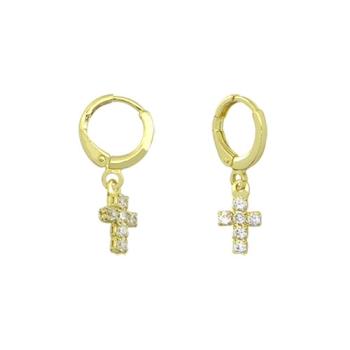Brinco argolinha articulada folheado a ouro com cruz de zircônia