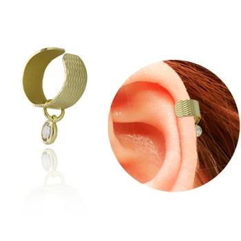 Brinco ear cuff folheado a ouro com zircônia