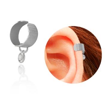Brinco ear cuff folheado a prata com zircônia